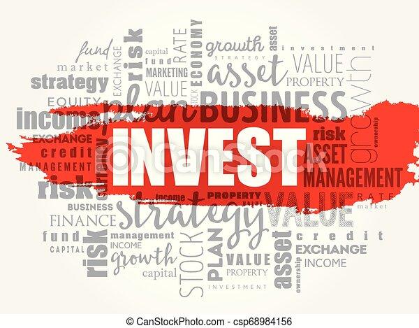 コラージュ, 投資しなさい, 単語, 雲 - csp68984156