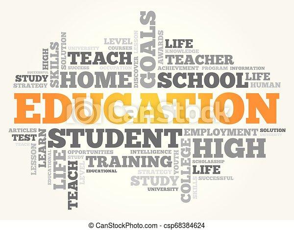 コラージュ, 教育, 単語, 雲 - csp68384624
