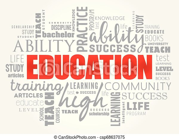 コラージュ, 教育, 単語, 雲 - csp68637075