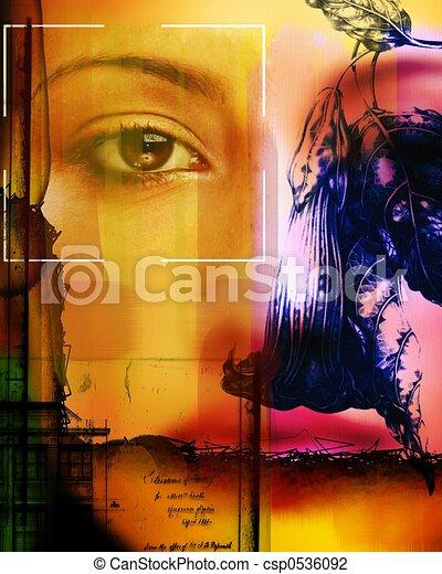 コラージュ, 肖像画, 芸術的, 使うこと, モデル, 花 - csp0536092