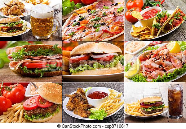 コラージュ, 食物, 速い - csp8710617