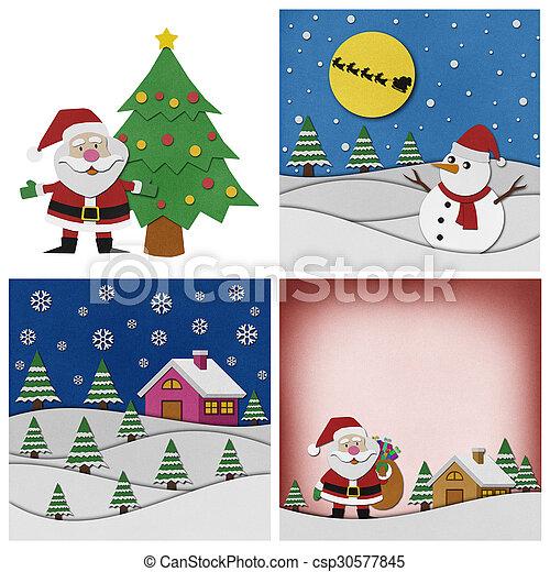 コレクション, バックグラウンド。, クリスマス, papercraft - csp30577845