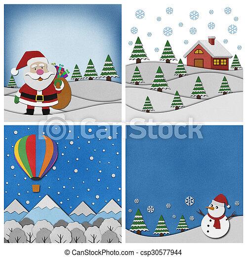 コレクション, バックグラウンド。, クリスマス, papercraft - csp30577944