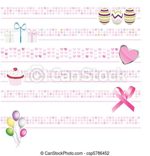 コレクション, ピンク, 旗 - csp5786452