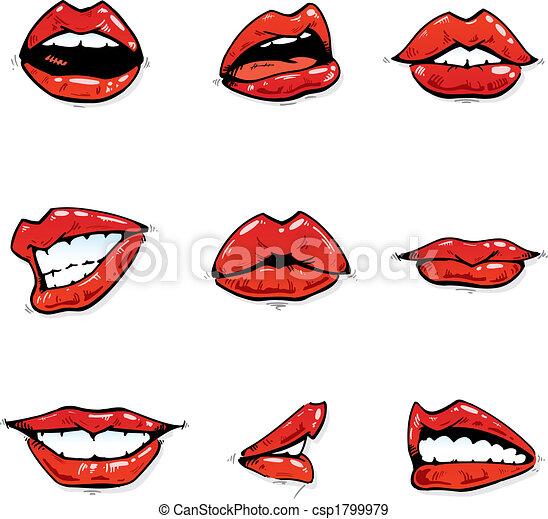 コレクション, gloosy, 唇, 様々, 表現, 赤 - csp1799979