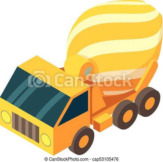 コンクリート, スタイル, アイコン, ミキサー, トラック, 等大, 3d - csp53105476