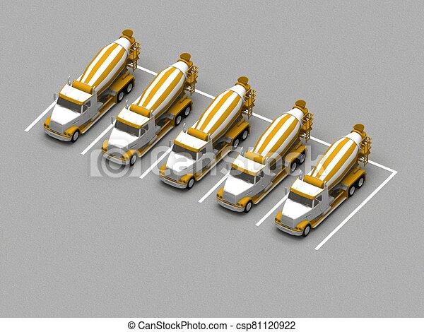 コンクリート, トラック, ミキサー, 駐車 - csp81120922