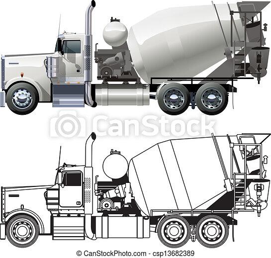 コンクリート, トラック, ミキサー - csp13682389