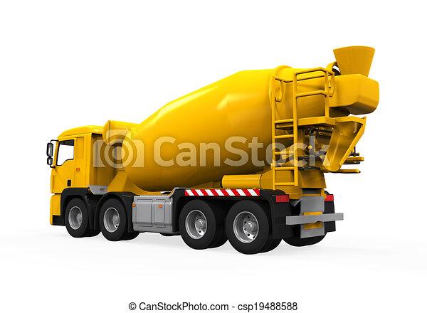コンクリート, トラック, 黄色, ミキサー - csp19488588