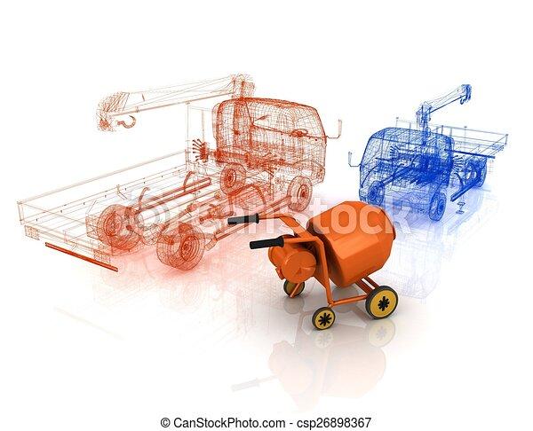 コンクリート, モデルトラック, ミキサー, 3d - csp26898367