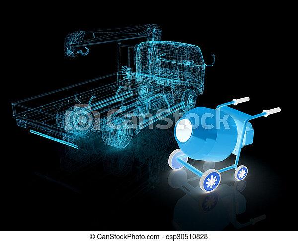 コンクリート, モデルトラック, ミキサー, 3d - csp30510828