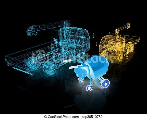 コンクリート, モデルトラック, ミキサー, 3d - csp30510789