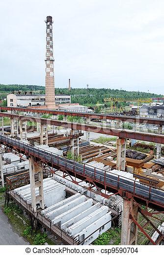 コンクリート, 植物, 生産, 厚板, 補強された - csp9590704