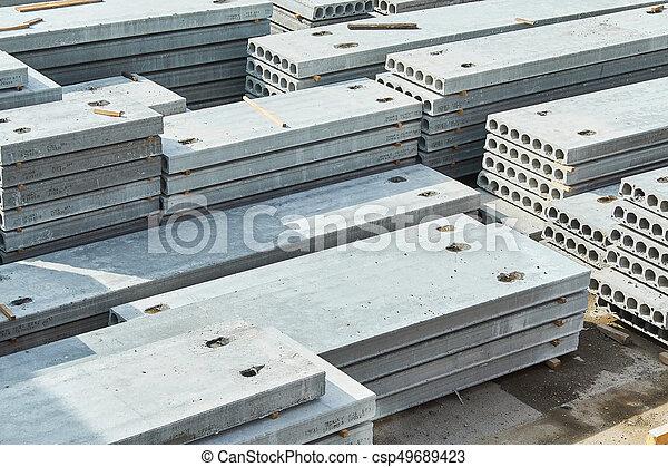 コンクリート, slabs., 製造, 生産, 補強された - csp49689423