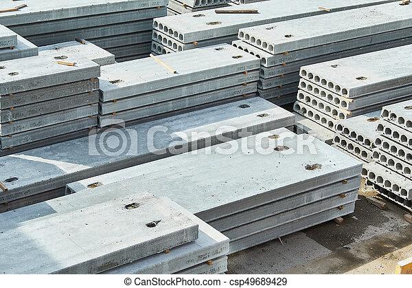 コンクリート, slabs., 製造, 生産, 補強された - csp49689429