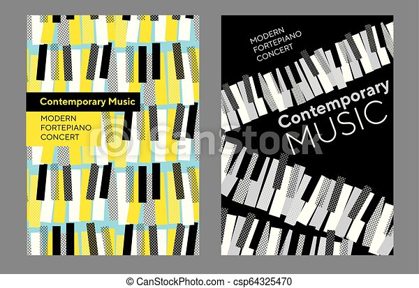 コンサート, セット, ポスター, 明るい, 音楽, ピアノ - csp64325470