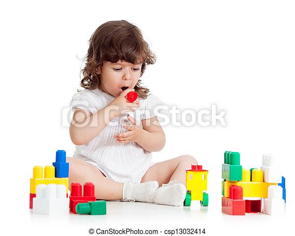 コンストラクションセット, 遊び, 女の子, 子供 - csp13032414