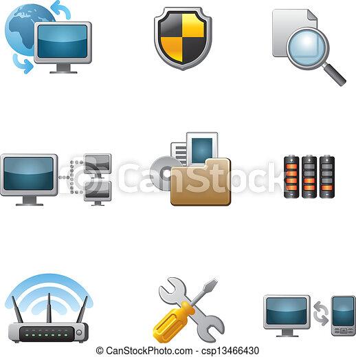 コンピュータ, セット, ネットワーク, アイコン - csp13466430