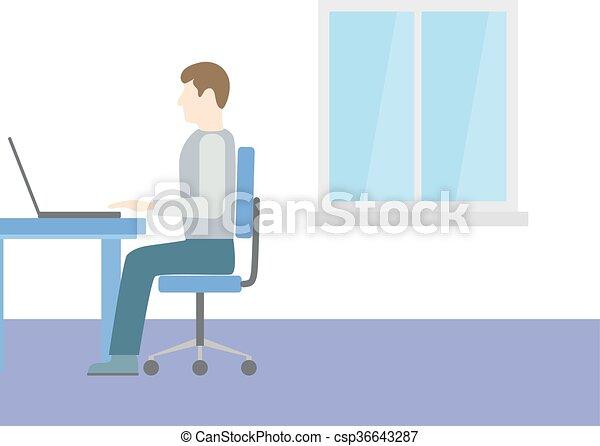 コンピュータ, 人間が座る - csp36643287