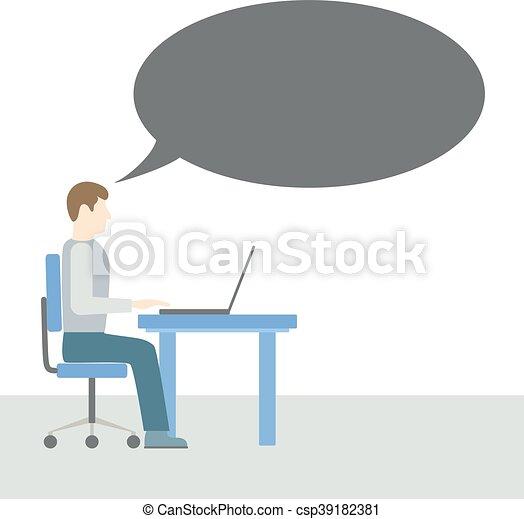 コンピュータ, 人間が座る - csp39182381