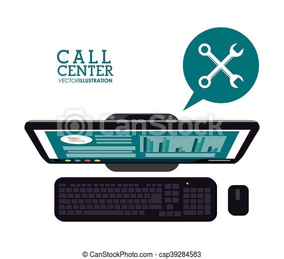 コンピュータ, 呼出し 中心, アイコン - csp39284583