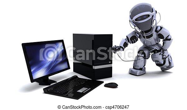 コンピュータ, 聴診器, ロボット - csp4706247