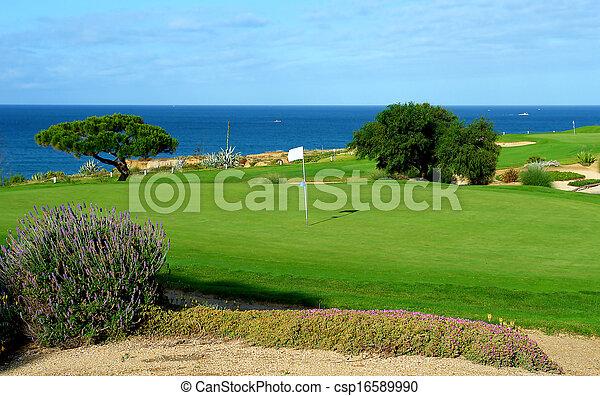 コース, ゴルフ, 海 - csp16589990