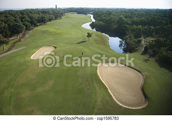コース, ゴルフ, aerial. - csp1595783