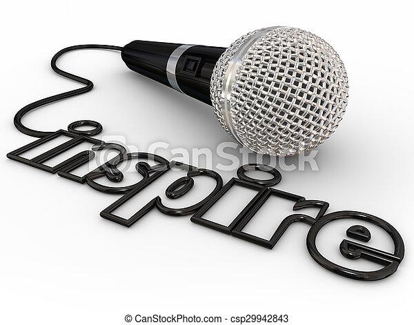 コード, 基調, 単語, 促しなさい, 動機づけである, マイクロフォン, スピーカー, 住所, スピーチ - csp29942843