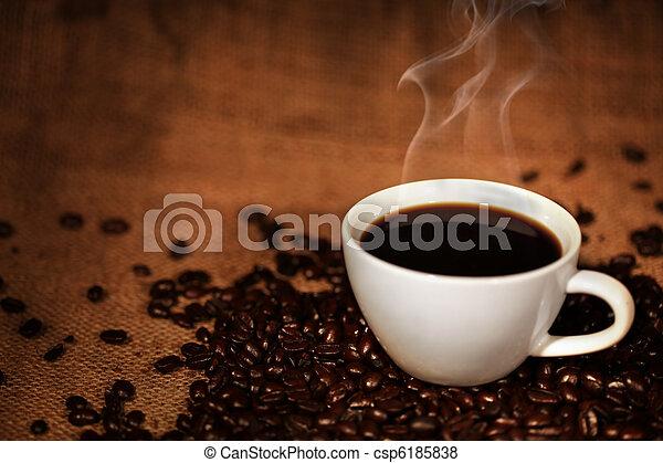 コーヒーカップ, 豆, 焼かれた - csp6185838