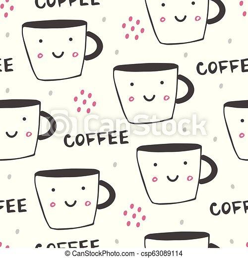 コーヒー, イラスト, カップ - csp63089114