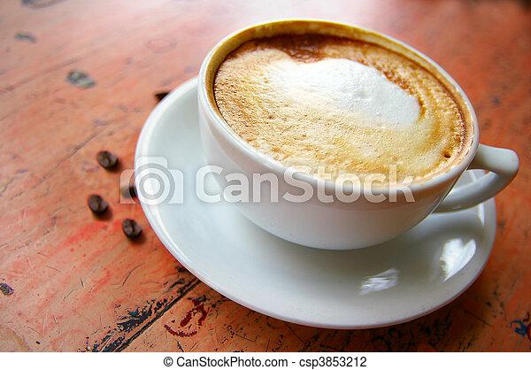 コーヒー, カプチーノ, 豆, 泡だらけ, カップ - csp3853212