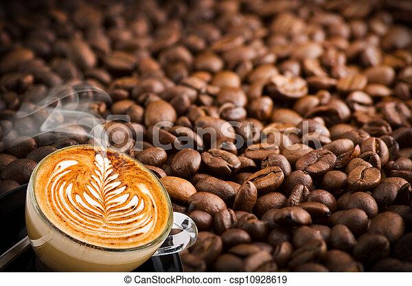 コーヒー, カプチーノ, 豆, 背景, カップ - csp10928619