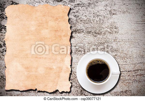 コーヒー, グランジ, カップ, ペーパー, 背景, 古い - csp39077121