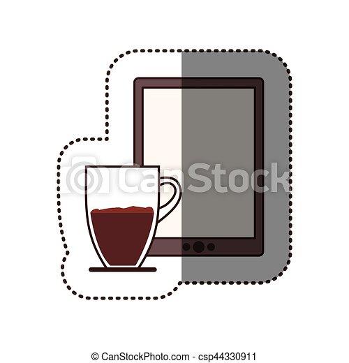 コーヒー, シルエット, タブレット, カップ, 色, ステッカー - csp44330911
