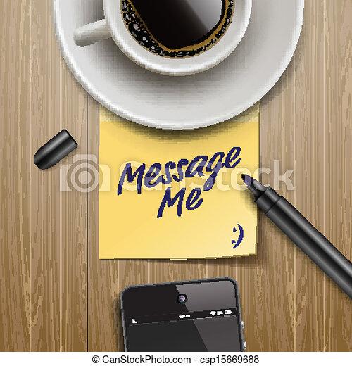 コーヒー, タブレット, カップ, メモ, マーカー, スティック - csp15669688