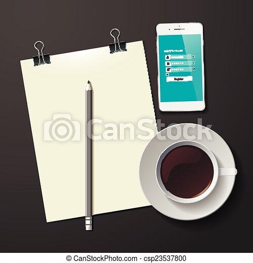 コーヒー, タブレット, カップ, 抽象的, イラスト, ベクトル - csp23537800