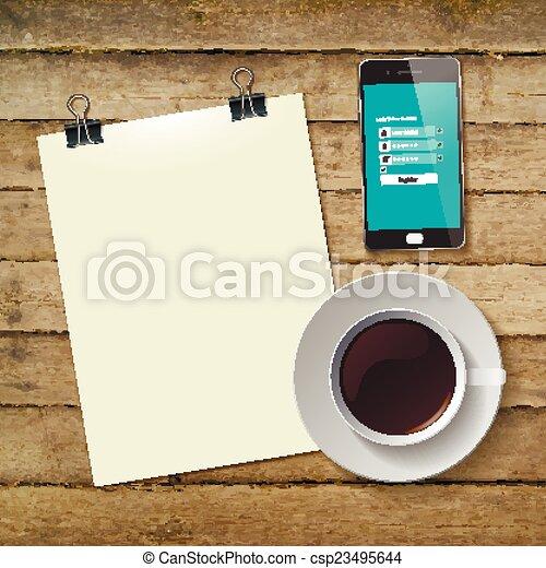 コーヒー, タブレット, カップ, 抽象的, イラスト, ベクトル - csp23495644