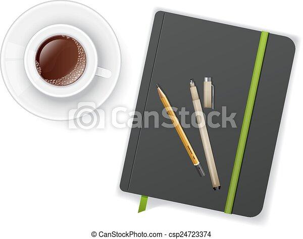 コーヒー, ノート, ペンのコップ - csp24723374