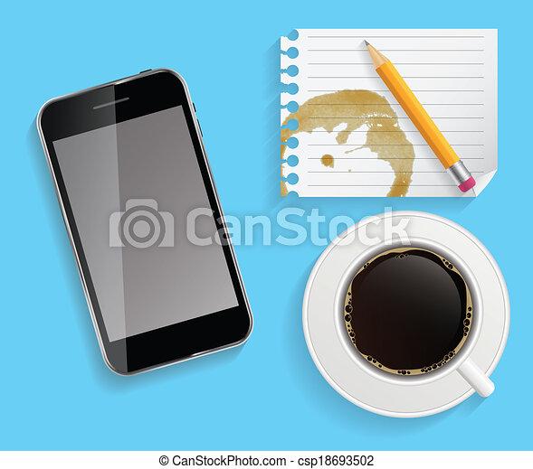 コーヒー, ビジネス, タブレット, カップ, 抽象的, イラスト, ベクトル - csp18693502