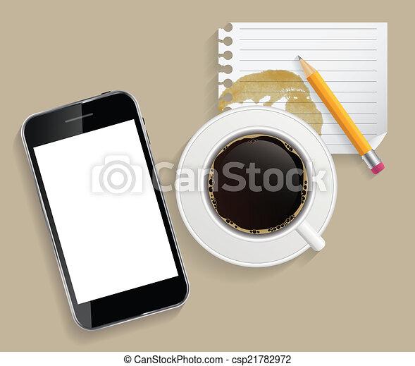 コーヒー, ビジネス, タブレット, カップ, 抽象的, イラスト, ベクトル - csp21782972