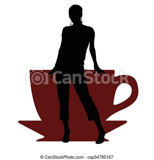 コーヒー, 女の子, イラスト, カップ - csp34785167