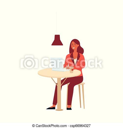 コーヒー, 女性の モデル, ラップトップ, スタイル, テーブル, 漫画 - csp66964327