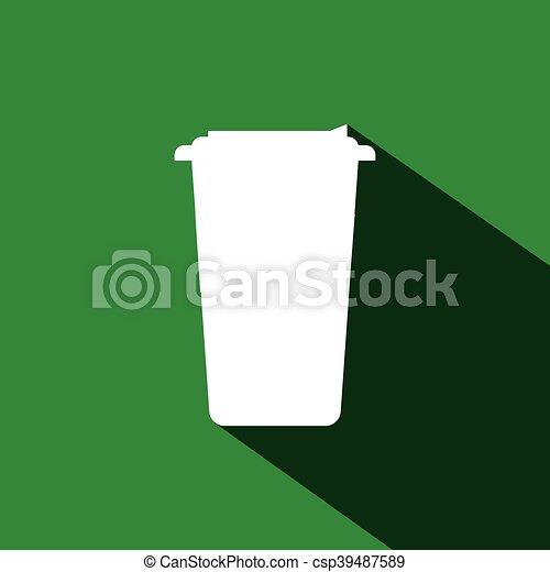コーヒー, 帽子, 白いコップ - csp39487589