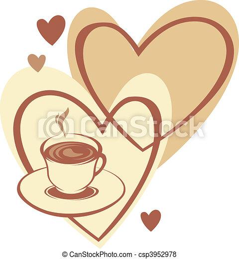 コーヒー, 愛, カップ - csp3952978
