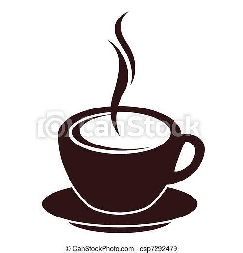 コーヒー, 蒸気, シルエット, 白いコップ - csp7292479
