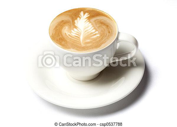 コーヒー, barista, カップ, 上に, 隔離された, 白 - csp0537788