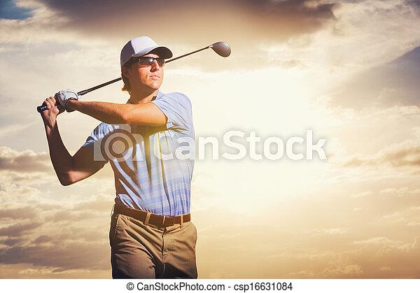 ゴルファー, 日没 - csp16631084