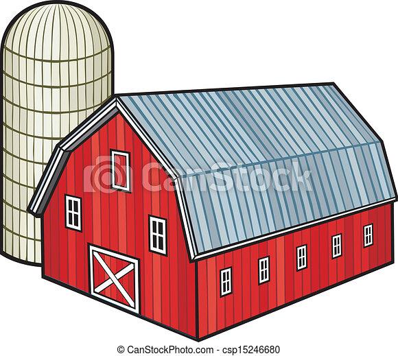 サイロ, 穀倉, 赤, (barn, 納屋 - csp15246680