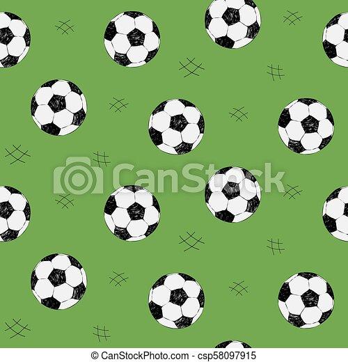 サッカー, スタイル, ボール, sketch., elements., パターン, seamless, 網, 手, バックグラウンド。, ベクトル, 緑, コレクション, 引かれる, スポーツ, 背景 - csp58097915